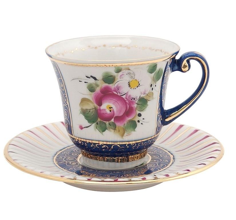 Чайная пара Ромашка (надглазурная роспись) - 993036915