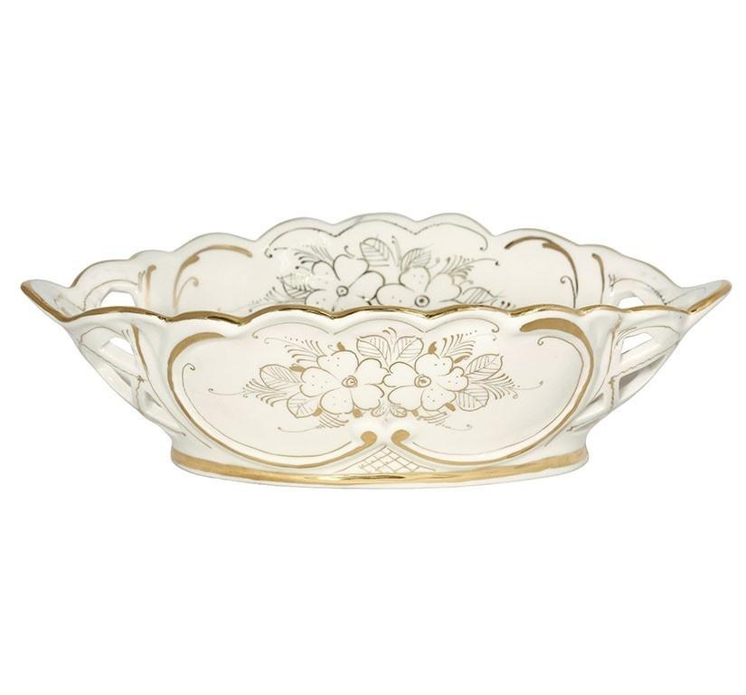 Конфетница овальная Черемуха (белье, золото) - 993208600