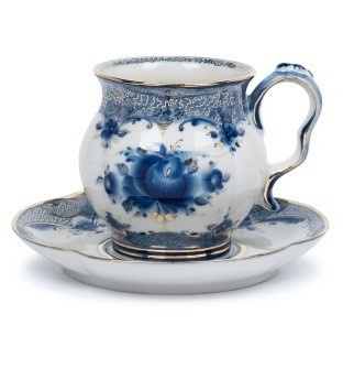 Чайная пара Голубая Рапсодия авт. росп. Калигина М. (золото) - 993300806
