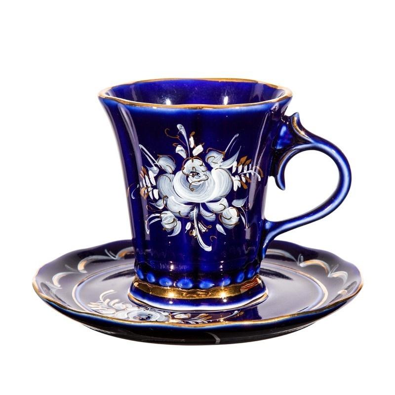 Чайная пара Катерина (глухой кобальт, краски, золото) - 993012313