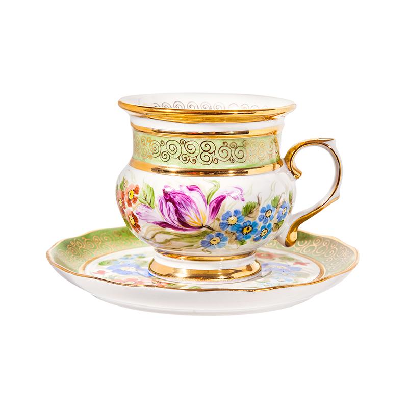 Чайная пара Голубка (надглазурные цветные краски, золото) авт. р. - 993034716