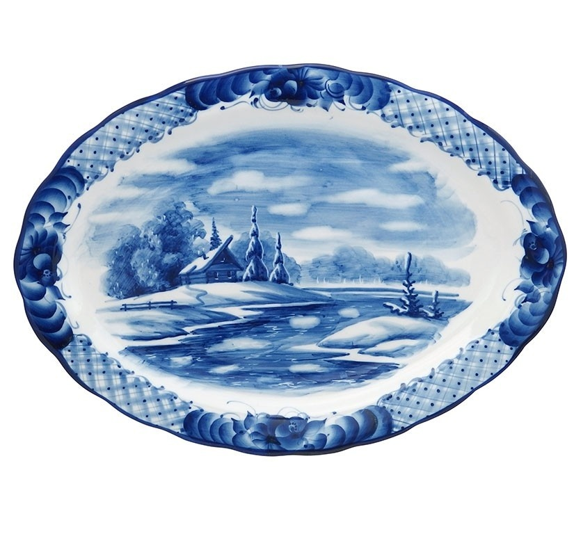 Блюдо овальное Лаванда большое (тематическая роспись) - 993153805