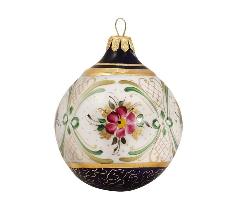 Елочная игрушка Шар (надглазурные цветные краски, кобальт, золото) - 993160805
