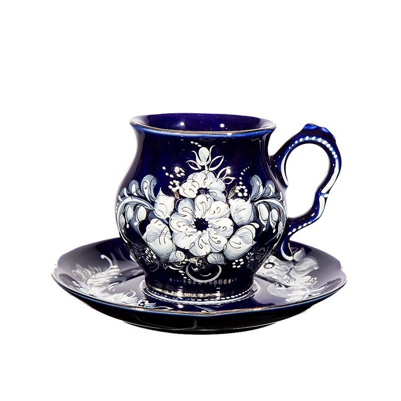Чайная пара Голубая рапсодия (глухой кобальт, надглазурные цветные краски, платина) - 993306076