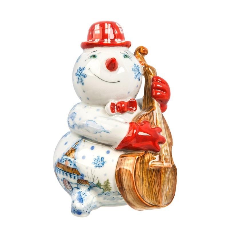 Скульптура Снеговик с контрабасом (подглазурные цветные краски) авторская работа - 993307220