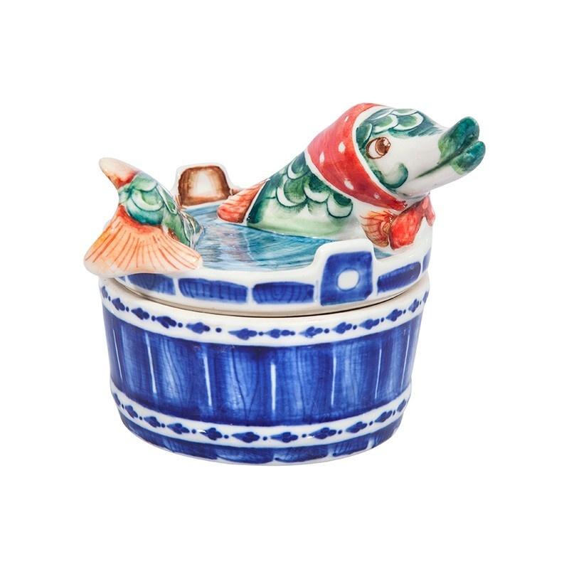 Шкатулка Щука (подглазурные цветные краски, кобальт) - 993311161