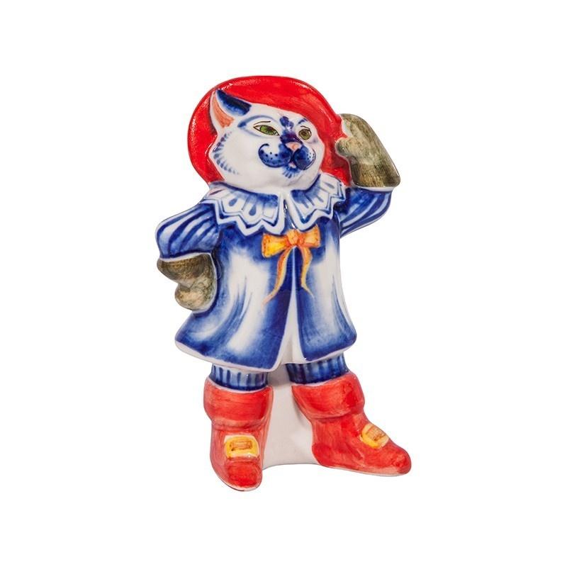 Скульптура Кот в сапогах (подглазурные цветные краски, кобальт) - 993312141