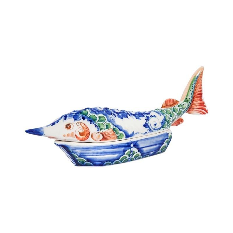 Шкатулка Осетр (подглазурные цветные краски, кобальт) - 993312281