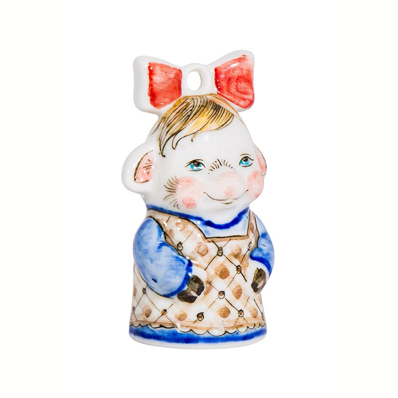 Елочная игрушка свинка Бантик (подглазурные цветные краски, кобальт) - 993316251