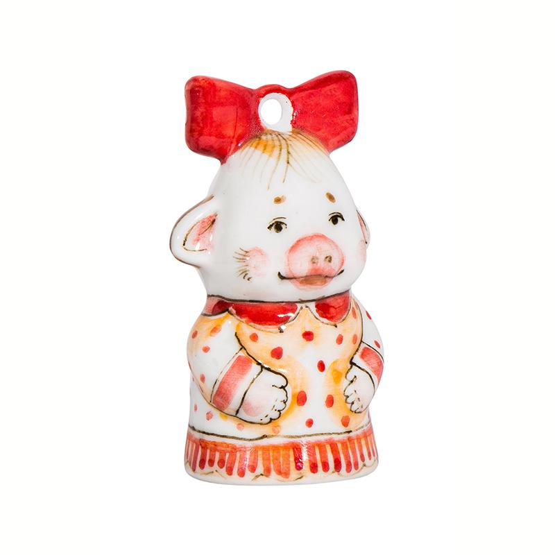 Елочная игрушка свинка Бантик (подглазурные цветные краски) - 993316261