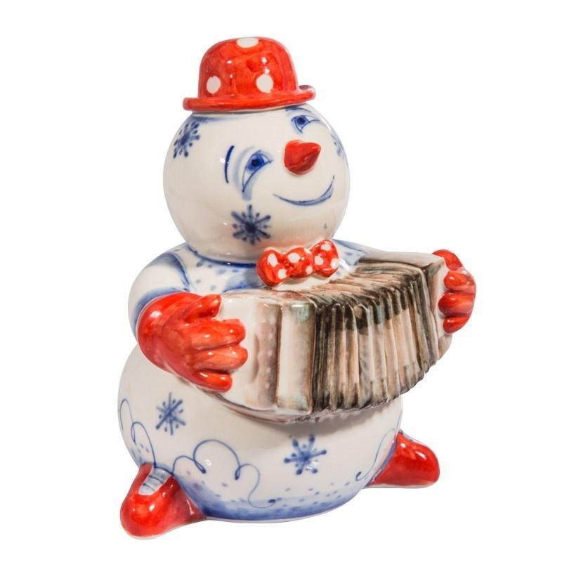 Скульптура Снеговик с гармошкой (подглазурные цветные краски, кобальт) - 993304021