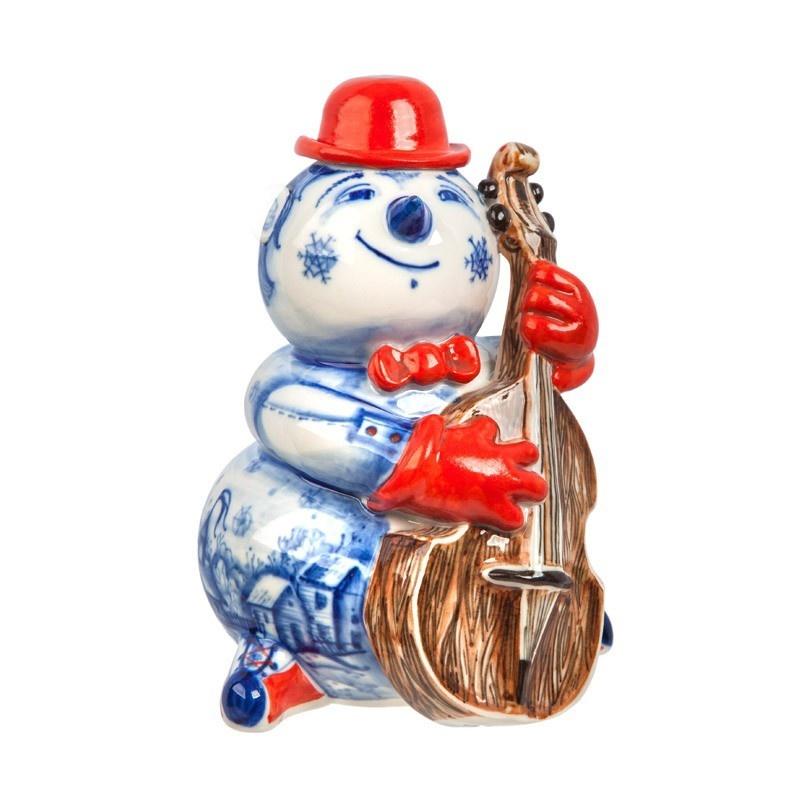 Скульптура Снеговик с контрабасом (подглазурная цветная роспись, кобальт) авторская работа - 993304090