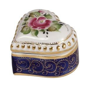 Шкатулка Сердечко (надглазурные цветные краски, кобальт, золото) - 993105905