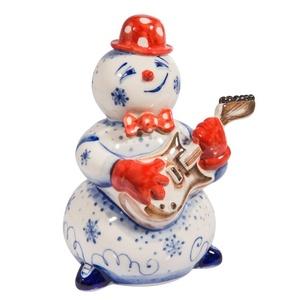 Скульптура Снеговик с гитарой (подглазурные цветные краски, кобальт) - 993304031
