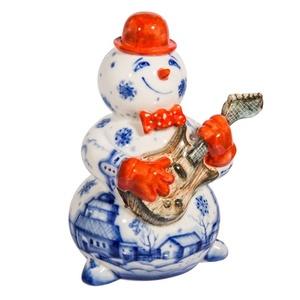 Скульптура Снеговик с гитарой (подглазурные цветные краски, кобальт) авторская работа - 993304900