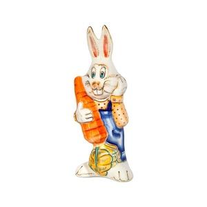 Скульптура Заяц с морковкой (подглазурные цветные краски, кобальт) - 993312101