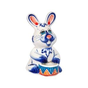 Скульптура Заяц с барабаном (подглазурные цветные краски, кобальт) - 993312121