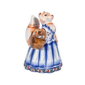 Скульптура Лиса с корзинкой (подглазурные цветные краски, кобальт) - 993312161