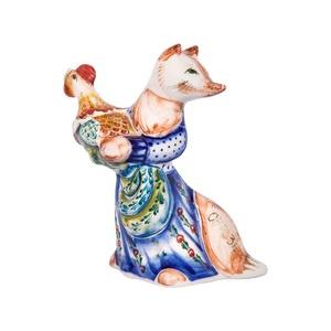 Скульптура Лиса Патрикеевна (подглазурные цветные краски, кобальт) - 993312181