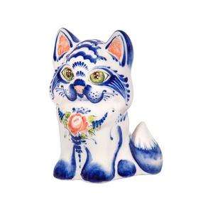 Скульптура котенок Пушок (подглазурные цветные краски, кобальт) - 993312201