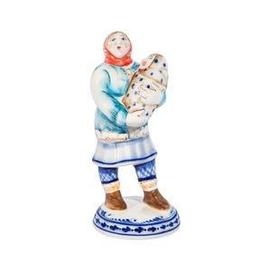Скульптура Селянка (поглазурные цветные краски, кобальт) - 993316621