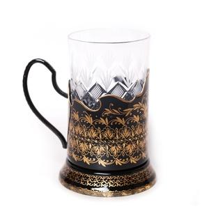 Подстаканник с жостовской росписью, черный, орнаментальный - PODS25102018D027