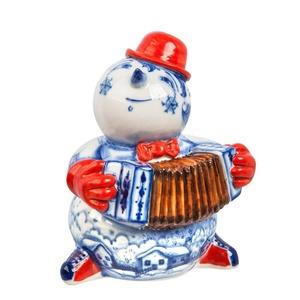 Скульптура Снеговик с гармошкой (подглазурные цветные краски, кобальт) авторская работа - 993305140