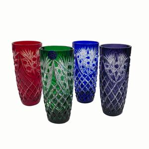 """Набор 4 стаканов """"Бутон"""" рисунок """"Фараон"""" (разноцветные) зеленый, кобальт, фиолетовый, красный - 234697"""