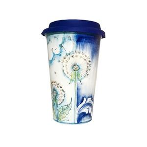 Авторский кофейный стаканчик с силиконовой крышкой №10 (цветная подглазурная роспись) -