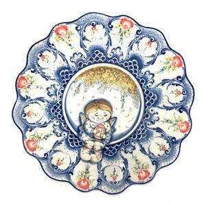 Тарелка для яиц (подглазурные цветные краски, авторская работа) сюжетная роспись - 993039481