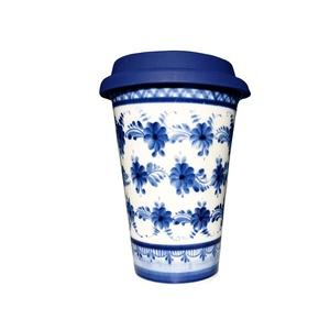Авторский кофейный стаканчик с силиконовой крышкой №8 - 993323711