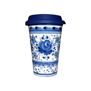 Авторский кофейный стаканчик с силиконовой крышкой № 4 - 993323711