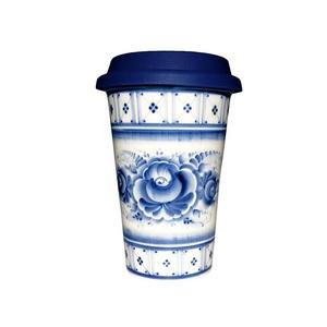 Авторский кофейный стаканчик с силиконовой крышкой №5 - 993323711