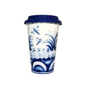 Авторский кофейный стаканчик с силиконовой крышкой №11 - 993323711