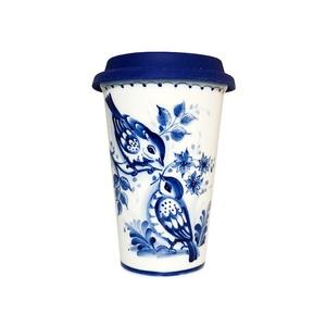 Авторский кофейный стаканчик с силиконовой крышкой №6 - 993323711