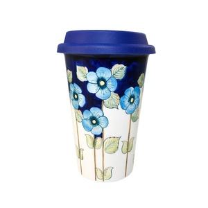Авторский кофейный стаканчик с силиконовой крышкой №7 (цветная подглазурная роспись) -