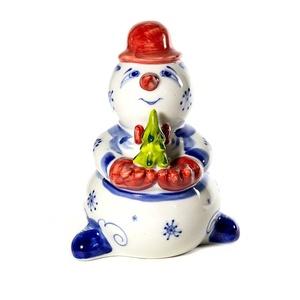 Снеговик с елкой (подглазурная цветная роспись) - 993412631